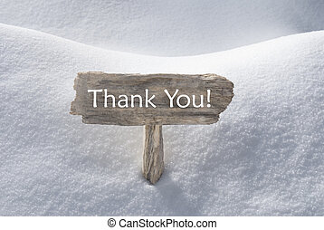 Christmas Sign With Snow And Text Thank You