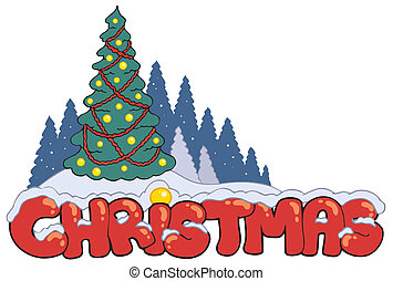 Christmas sign with tree - vector illustration.