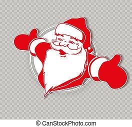 Christmas silhouette of Santa Claus, hands apart.