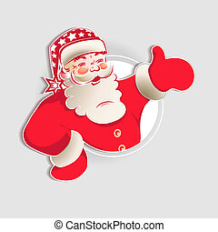 Christmas silhouette of Santa Claus in red.