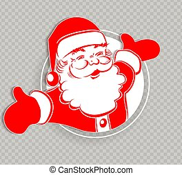 Christmas silhouette of Santa Claus in red color, hands apart.