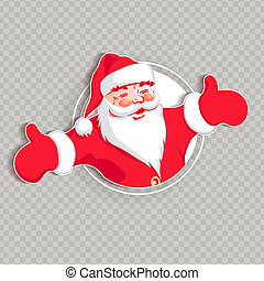 Christmas silhouette of Santa Claus with hands apart.
