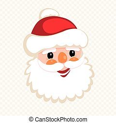 Christmas silhouette of smiling Santa Claus face,