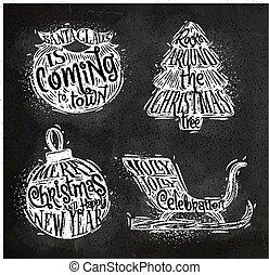 Christmas silhouettes beard chalk