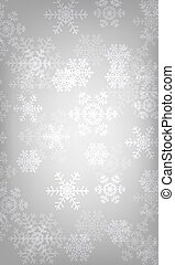 glowing snowflakes - Christmas silver background with...