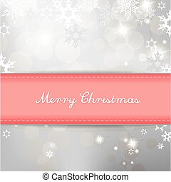 Christmas silver background with snow flakes and pastel color ribbon with Merry Christmas text.