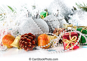 Christmas silver ball baubles with new year decoration, isolated