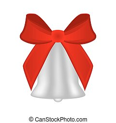 Christmas silver bell with red bow