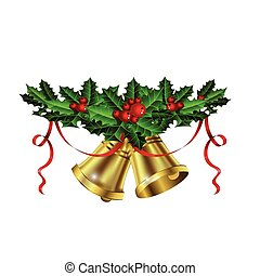 Christmas silver bells holly sprig and berries