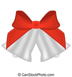 Christmas silver bells with red bow
