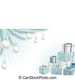 Christmas silver blue corner elements