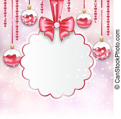Christmas Silver Glassy Balls with Clean Card with Bow Ribbon
