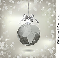 Christmas silver globe with world map. Vector illustration
