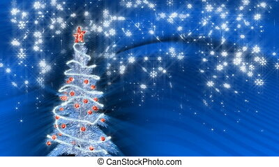 Christmas silver tree - Silver christmas tree on blue...