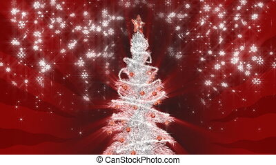 Silver christmas tree on red snowing background