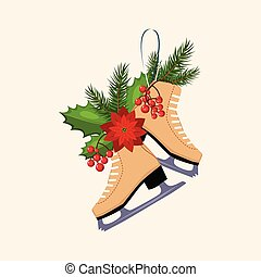 Christmas Skates with Fir, Berries and Poinsettia. Vector Illustration