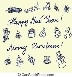 Christmas sketch. Congratulations with New year in Typographic style.