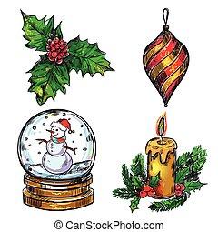 Christmas Sketch Icon Set
