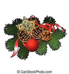 Christmas sketch with decor of fir twigs with red glass decorative balls, baubles, golden snowflake and pinecones. Sample of the poster, invitation and other cards. Vector illustration.