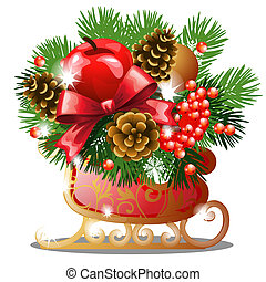 Christmas sketch with decor of golden ice skates with fir twigs, red ribbon bow, baubles, snowflake and pinecones. Sample of the poster, invitation and other cards. Vector illustration.