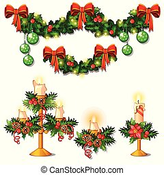 Christmas sketch with decorations of twigs of spruce, Holly leaves, candles and garlands. Sample of the poster, invitation and other cards. Vector illustration.