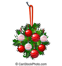 Christmas sketch with hanging wreath of fir twigs and leaves of Holly decorated with red and white glass balls and baubles. Sample of the poster, invitation and other cards. Vector illustration.