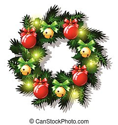 Christmas Sketch With Wreath Of Fir Twigs Decorated With Red Baubles And Glass Balls, Garland, Golden Jingle Bells, Red Ribbon Bow. Sample Of Poster, Invitation And Other Card. Vector Illustration.