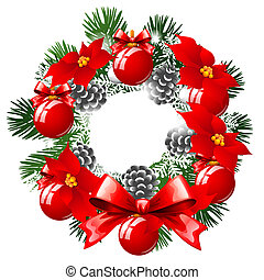 Christmas Sketch With Wreath Of Fir Twigs Decorated With Red Baubles And Glass Balls, Pine Cones And Flowers Of Poinsettia. Sample Of The Poster, Invitation And Other Cards. Vector Illustration.