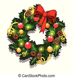 Christmas Sketch With Wreath Of Fir Twigs Decorated With Red Baubles And Glass Balls, Pine Cones, Red Ribbon Bow And Serpentine. Sample Of The Poster, Invitation And Other Cards. Vector Illustration.