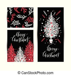 Christmas sketchy set in card. No transparency. No gradients.