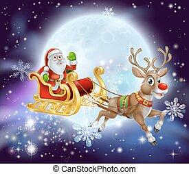 christmas sled 2013 A6 - Christmas cartoon illustration of...