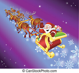 christmas sled illustration - Santa waving from his sled
