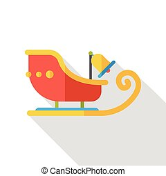 Christmas sleigh flat icon