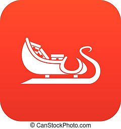 Christmas sleigh of santa claus icon digital red