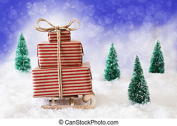 Christmas Sleigh On Snow With Blue Background