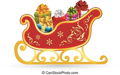 Christmas sleigh santa claus, with gifts, ornate, cartoon on white background,