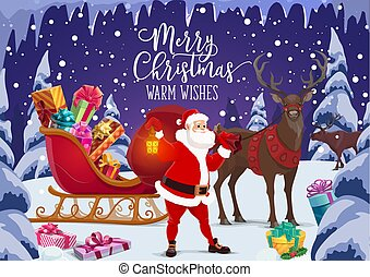 Christmas sleigh with Santa and Xmas gifts