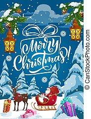 Christmas sleigh with Santa, Xmas gifts and deer
