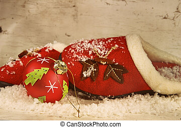 Christmas slippers with ornament