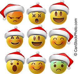 Christmas Smiley face emojis or yellow emoticons in glossy 3D realistic with Santa's hat, vector illustration.