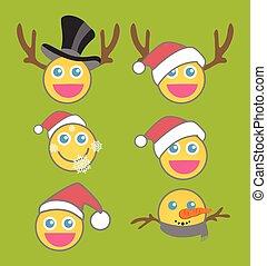 Christmas Smiley Vector Set