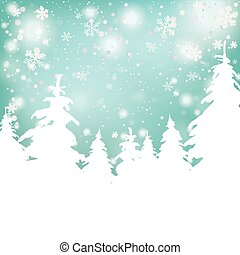 Christmas Snow Background Fir Trees - Snow with fir trees...