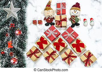 Christmas snow background with presents