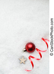 Christmas Snow Background with Red Bauble, Ribbon Swirl and Star