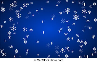 Christmas snow background with scattered snowflakes falling in the winter on New Year holidays