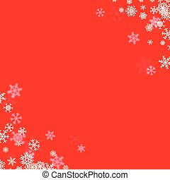 Christmas snow background with scattered snowflakes falling...