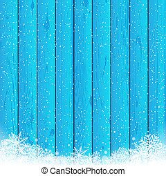 Christmas snow blue wood background