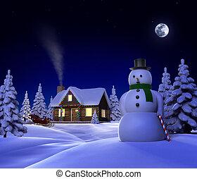 Christmas Snow Cabin - A christmas themed snow cene showing...