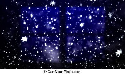 Christmas snow-covered window and falling snowflakes