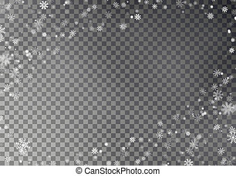Christmas snow flake frame vector, isolated dark background. Snowflake transparent decoration effect